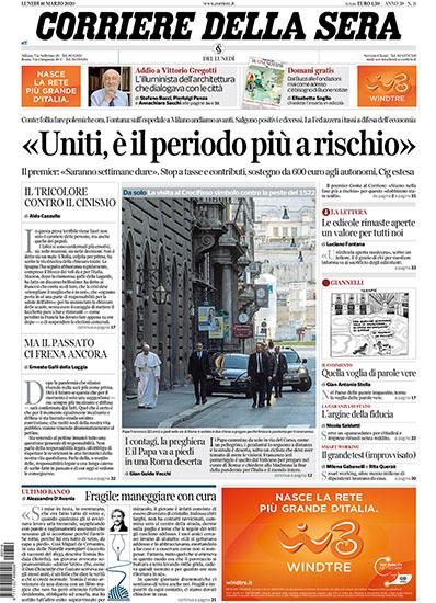 Corriere della Sera n.11 del 16 marzo 2020 - rassegna stampa - Prof. Nicola Sorrentino