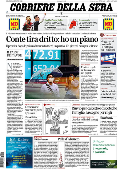 Corriere della Sera n.139 del 12 giugno 2020 - rassegna stampa - Prof. Nicola Sorrentino