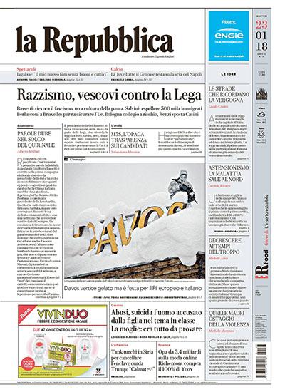 la Repubblica n.19 del 23 gennaio 2018 - rassegna stampa - Prof. Nicola Sorrentino