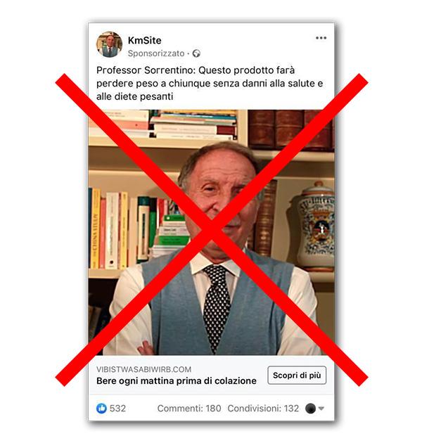 """Messaggio e pubblicità falsi a nome """"Prof. Nicola Sorrentino"""" - KmSite"""