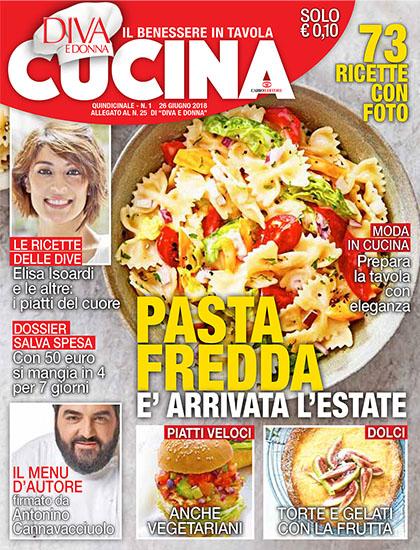 Diva Cucina n.1 del 26 giugno 2018 - allegato Diva e Donna n.25 - rassegna stampa - Prof. Nicola Sorrentino